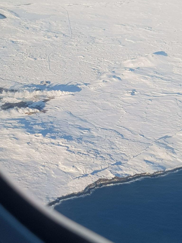 Reikiavik, Islandia, desde la ventanilla del avión
