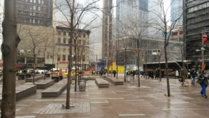 Zuccotti Park en el financial district